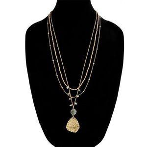 Multi Strand Gold Necklace with Labradorite